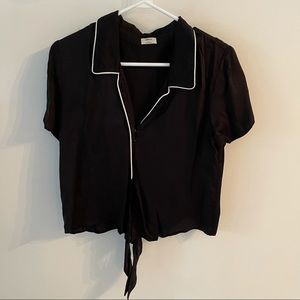 Wilfred Aritzia black silk pj style crop top